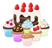 Babeczka setu torta inkasowy słodki cukierek Zdjęcia Royalty Free