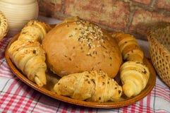 Babeczka z chlebowymi rolkami Fotografia Stock