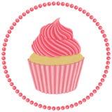 Babeczka z różową śmietanką Fotografia Royalty Free