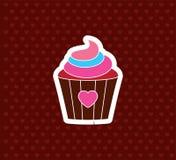Babeczka z sercem Walentynki ` s dnia ikona Miłość wektor Illustrati Obrazy Stock