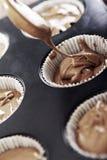 babeczki czekoladowa mieszanka Zdjęcia Royalty Free