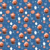 babeczki deseniują bezszwowego cukierki Obraz Royalty Free