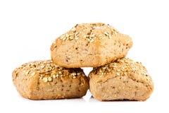 Babeczki odizolowywać na białego tła jedzenia chlebowych rolkach Zdjęcie Royalty Free