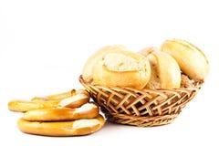 Babeczki odizolowywać na białego tła jedzenia chlebowych rolkach Zdjęcie Stock