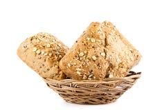 Babeczki odizolowywać na białego tła jedzenia chlebowych rolkach Fotografia Royalty Free