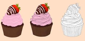 Babeczki z różową śmietanką i truskawkami z czekoladą dla St walentynek dnia wektoru royalty ilustracja