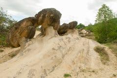 Babele de la ulmet geologic formation of round shape rocks  known as trovanti remains of prehistoric sea bed in romania in buzau c. Babele de la ulmet geologic Stock Images