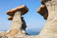 Babele - Geomorphologic rocky structures in Bucegi Mountains Stock Photo