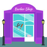 Baber shop, stores front flat style. Vector illustration salon exterior Royalty Free Stock Photo