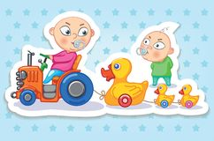 babette Счастливое детство детей Смешные стикеры иллюстрация штока