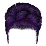 Babette dos cabelos com cores do roxo da trança fashi na moda das mulheres Fotografia de Stock