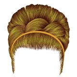 Babette of hairs with pigtail bright yellow colors . trendy wome. Babette of hairs with pigtail bright yellow Royalty Free Stock Image