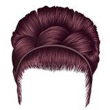 Babette of hairs with pigtail copper pink colors . trendy women. Fashion beauty style . realistic 3D . retro hairstyle Royalty Free Stock Photography