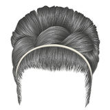 Babette of hairs with pigtail gray colors . trendy women fashion.  Royalty Free Stock Image