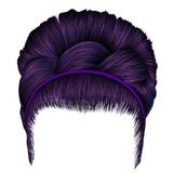 Babette of hairs with pigtail purple colors . trendy women fashi. On Stock Photography