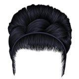 Babette von Haaren mit Zopf Brunetteschwarzfarben Frauenart und weise Retro- Frisur stock abbildung