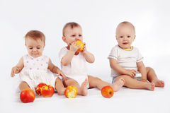 Babies. Group of babies with apples sitting on white studio background Royalty Free Stock Image