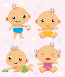 Babies. Cute  cartoon set with new born babies Royalty Free Stock Image