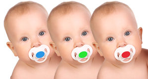 Babies. Adorable little babies. Over white background Stock Photo