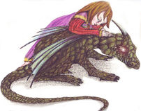 The babies. The little girl and the dragon Royalty Free Stock Photo