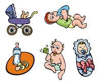 Babies. Set of cartoon drawing of children, babies, different activities, vector illustration Royalty Free Stock Image