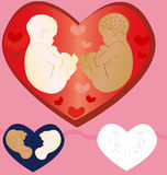 Babies. Two babies surrounded with love of all relatives. Execution examples Royalty Free Stock Photo