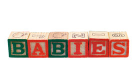 Babies. The word babies, spelled using colored letter blocks Royalty Free Stock Images