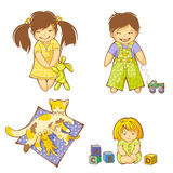 Babies. Small boy, girls and kittens Royalty Free Stock Image