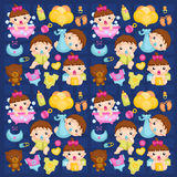 Babies in Action Background Royalty Free Stock Images