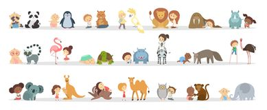 Babies with animals. Cute babies playing with animals set on white Royalty Free Stock Photo