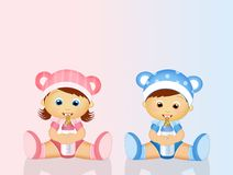 Babies with baby bottle. Funny illustration of babies with baby bottle royalty free illustration