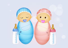 Babies with baby bottle. Illustration of babies with baby bottle royalty free illustration