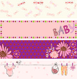 Babies banners. For girl. Hand drawn illustration Stock Photography