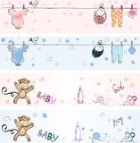 Babies banners. Set of Babies banners. Hand drawn illustration Royalty Free Stock Photography