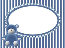Babies blue background with bear. Babies blue background with frame for photo and bear Royalty Free Stock Photos