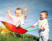 Babies Bonding Happiness Childhood Playing Concept Stock Photo