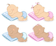 Babies boy and girl mascot set 2 Stock Photos