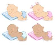 Babies boy and girl mascot set 2 Stock Photos