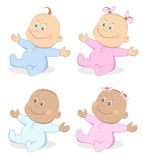 Babies boy and girl mascot set 4 Royalty Free Stock Images