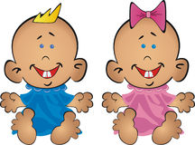 Babies the boy and the girl sit on priests. Two babies the boy and the girl sit on priests. The boy in blue clothes, the girl in pink. At the girl on a head a Stock Image