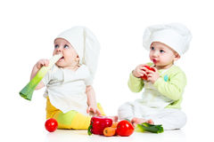 Babies boy and girl wearing a chef Stock Photos