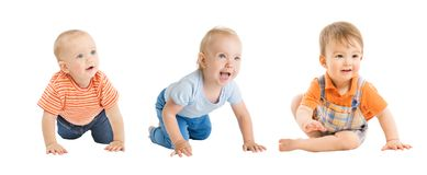 Babies Boys, Crawling and Sitting Infant Kids Group, Toddlers Children on White stock image
