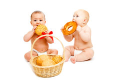 Babies with buns Stock Photography
