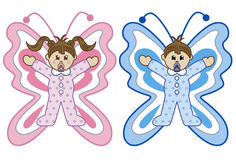 Babies in butterfly costumes cartoon stock illustration