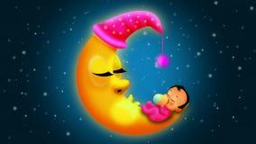 Babies cartoon sleeping on moon, loop video background for lullabies