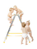 Babies climbing on stepladder, Competition Stock Image