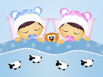 Babies counting sheeps Stock Photo
