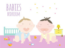 Babies crawling inside baby bedroom Stock Photos
