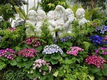 Babies daisies. Babies statues in daisy garden Stock Photos