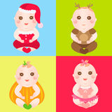 Babies in different costumes Royalty Free Stock Photography